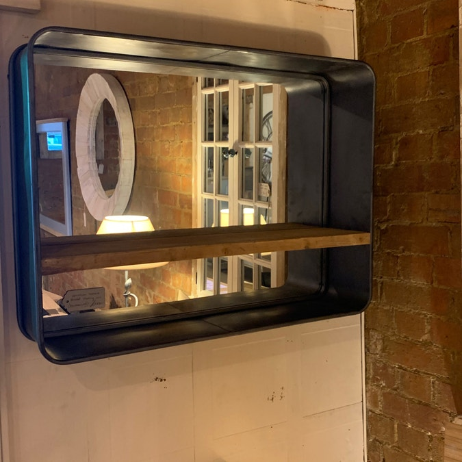 Oblong Industrial Mirror with Shelf