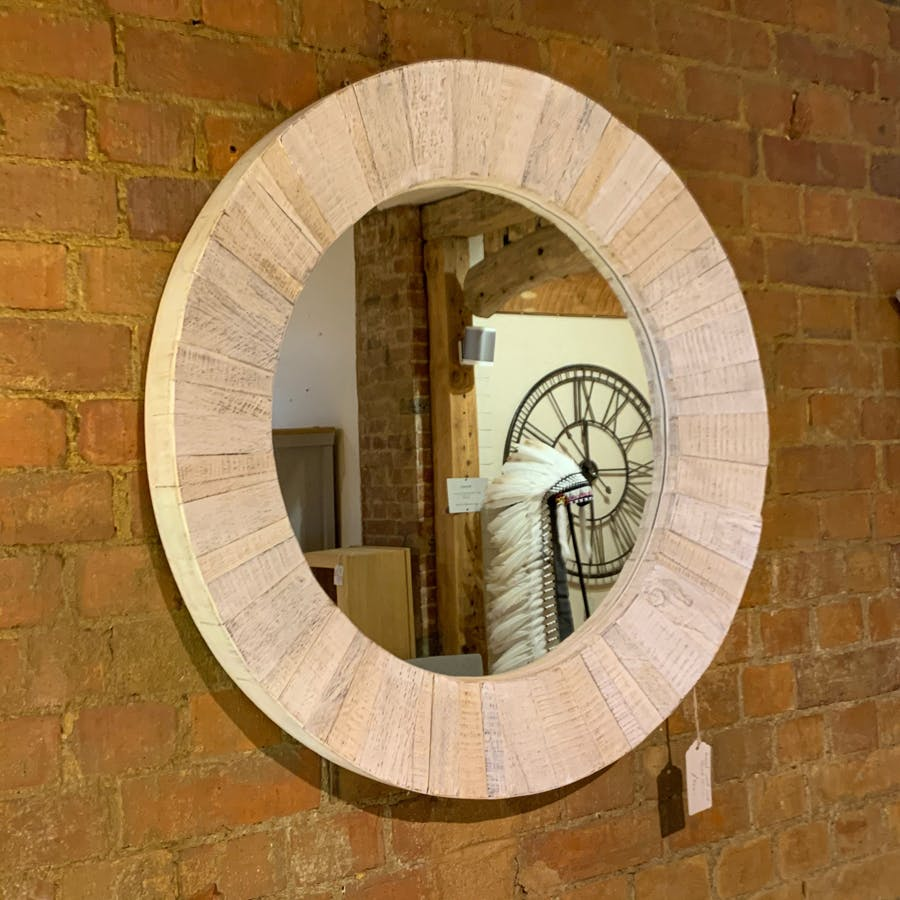 Round Washed Mirror